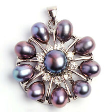 Black White Pink Purple Genuine Freshwater Pearl 18KWGP Flower Pendant +Necklace