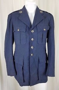 Vintage Hampshire Clothes Air Force Blue Wool Serge Coat March 1951 38 R Pewter