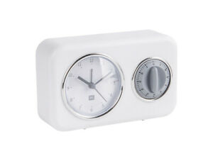 Nostalgia - Present Time Kitchen Clock with Timer (PT3375WH - White with grey)