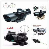 Tactical 2.5-10x40 Hunting Rifle Red Green Laser Sight Dot Scope/ 4x32 Sight