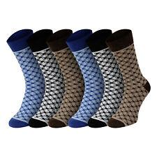 Mens 6 Pack DOGTOOTH Design Honeycomb Top Cotton Rich Comfort Socks Uk 6-11