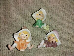 Vintage Homco Porcelain Pixie Elf Fairy Gnome Figurines lot of 3 Taiwan