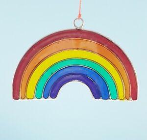 Rainbow mini sun catcher mobile stain glass effect teacher gift garden gifts