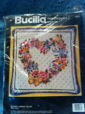 """NOS 1990 BUCILLA """"BUTTERFLY WREATH"""" PILLOW KIT #4635"""