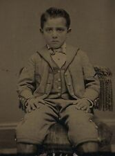 OLD VINTAGE ANTIQUE TINTYPE PHOTO of AMPUTEE BOY w/ AMPUTATED & PROSTHETIC LEGS