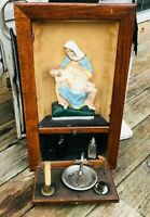 Vtg Altar PIETA Mother Mary Jesus Shadow Box Holy Water Font Door Wall Hanging