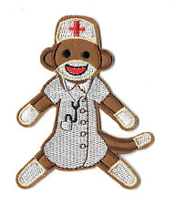 Nurse - Sock Monkey - Medical - Hospital - Embroidered Iron On Applique Patch