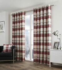 Fusion Balmoral Check Ruby Lined Curtains - 90x90 Inches