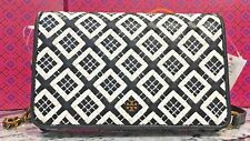 NWT TORY BURCH Robinson Woven-Leather Bag Convert to Wallet Black/Ivory+Box