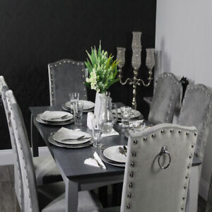 Velvet Kitchen Dining Chairs   Back Knocker   Grey Painted Legs  