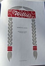 Willie Nelson Mini Concert Poster Reprint in Norman OK 2008   14x10