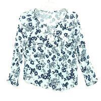Old Navy Peasant Blouse Sz S White Blue Flowers Keyhole Tassel Popover 3/4 Sl