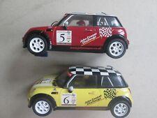 Scalextric Hornby slot car x2 Mini Cooper F&B lights 1/32 both run well Vgc 18