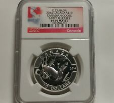Canada 2014 $10 Canada Goose ½ Troy Oz Matte Proof Pure Silver Coin NGC PF 69