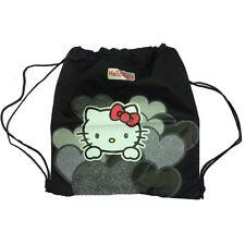 HELLO KITTY Bolsa mochila con cordón tejido negra impreso purpurina 32,5x36 cm