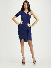 """BCBG MAX AZRIA"" BLUE RUCHED ONE SLEEVE CHRISTINA COCKTAIL DRESS S: XXS NWT $298"