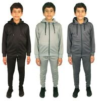 Boys Tracksuit Kids School Hoodie Joggers Zip Hooded Top Jogging Pants Bottoms