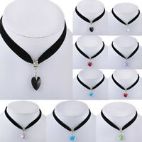 Vintage Black Velvet Heart Crystal Choker Charm Necklace Pendant Gothic  80s 90s