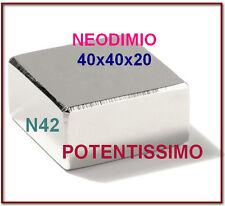 1 Pezzo NEODIMIO MAGNETE 40X40X20 mm. 100 KG. CALAMITA CALAMITE MAGNETI Potente