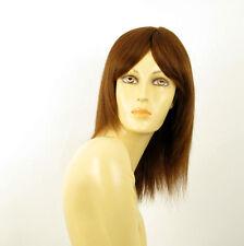perruque femme 100% cheveux naturel châtain clair cuivré ref TATIANA 30