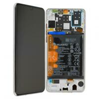 Original Huawei P30 LITE Display LCD mit Rahmen Akku MAR-LX1M - Weiß White