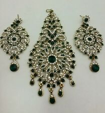 New elegant indian bollywood Jhumar and earrings in bottle green set