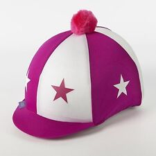 Lycra Riding Skull Cap Covers  XC Hat Silk  Stars & Pom Pom