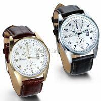 Leather Band Round Quartz Analog Elegant Classic Casual Men's Wrist Watch New