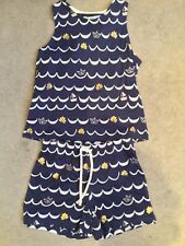 M&S 2 PIECE - BLUE & WHITE IN NAUTICAL TOP & SHORTS WITH BOW ON BACK - 3-4y BNWT