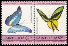 "ST. LUCIA 734 (SG787a) - Native Butterflies ""Se-tenant Pair"" (pa92787)"