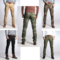 Mens Cotton Slim Fit Skinny Pants Military Casual Cargo Worker  Overall Trousers