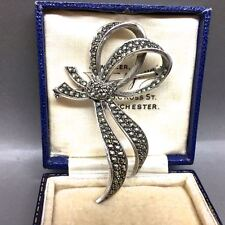 Vintage Sterling Silver Marcasite Flowing Bow Brooch
