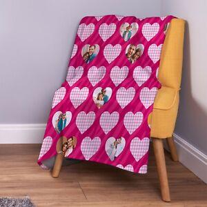 Personalised Pink Heart [10 Photo] Design Soft Fleece Throw Blanket