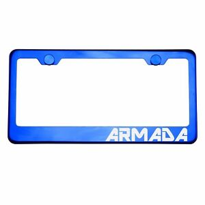 Blue Chrome License Plate Frame ARMADA Laser Etched Metal Screw Cap