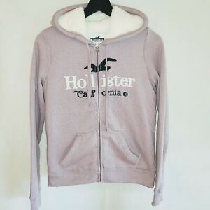 Hollister California Womens Small Sherpa Faux Fur Lined Mauve White Hoodie NWT