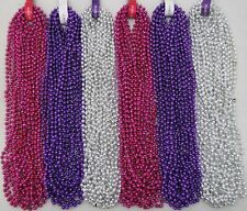 Mardi Gras Beads Hot Pink Purple Silver Disco 6 Dozen Girl Party 72 Necklaces