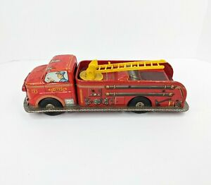 Vintage MARX Red Fire Truck Friction Toy Tin Litho Pressed Steel1940s 1950s