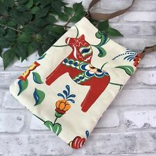 Swedish Dala Horse White Ecru Red Dalahäst Kurbit Cross Body Shoulder Bag Purse