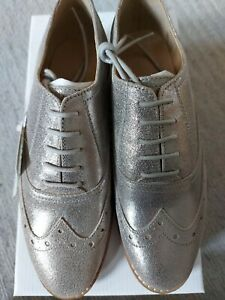 Ladies Oxford Brogues  Leather Lace Up  Silver Size UK4 Eu37