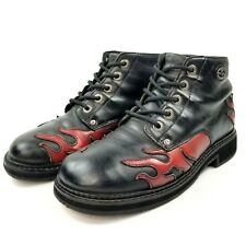 Harley Davidson Womens Ankle Boots Sz 8.5 Lace Up Black Red Leather Flames 81474