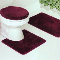 3PC SOLID PLAIN BURGUNDY BANDED BATHROOM SET BATH MAT COUNTOUR LID COVER #6