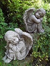 RESTING ANGELS PAIR Hand Cast Stone Garden Ornament Angel Statue ⧫onefold-uk