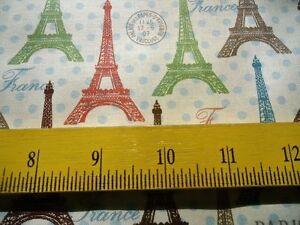 SALE Lula Bijoux  Fabric Eiffel Towers Polka Dot Paris France