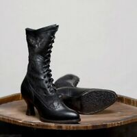 Women Victorian Lace Boots Steampunk Lolita Block Shoes Lace Up High Heel Boots