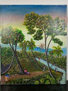 Signed Haitian Landscape Ethnic Tropical Island Art Painting