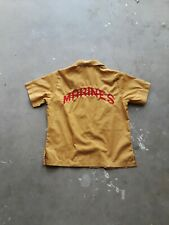 Vtg 50s Marines Embroidered Bowling Shirt