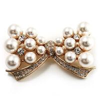 Imitation Pearl Diamante Bow Brooch (Gold Tone)