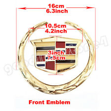 "6"" Front Grille Emblem Wreath Crest Badge for CADILLAC Ornament Gold Sticker"