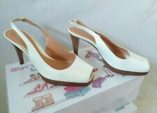 SERGIO ROSSI Sandal Clasic Summer Women Shoes Open Leather White Size 36