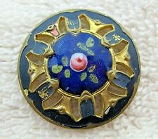"Vintage Enameled Pink Rose Button Goldtone Metal Open Cut Work 1"" B26"